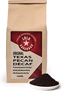 Lola Savannah Texas Pecan Ground Coffee - Arabica Beans Brimming with Roasted Pecan Flavor | Decaf | 2lb Bag