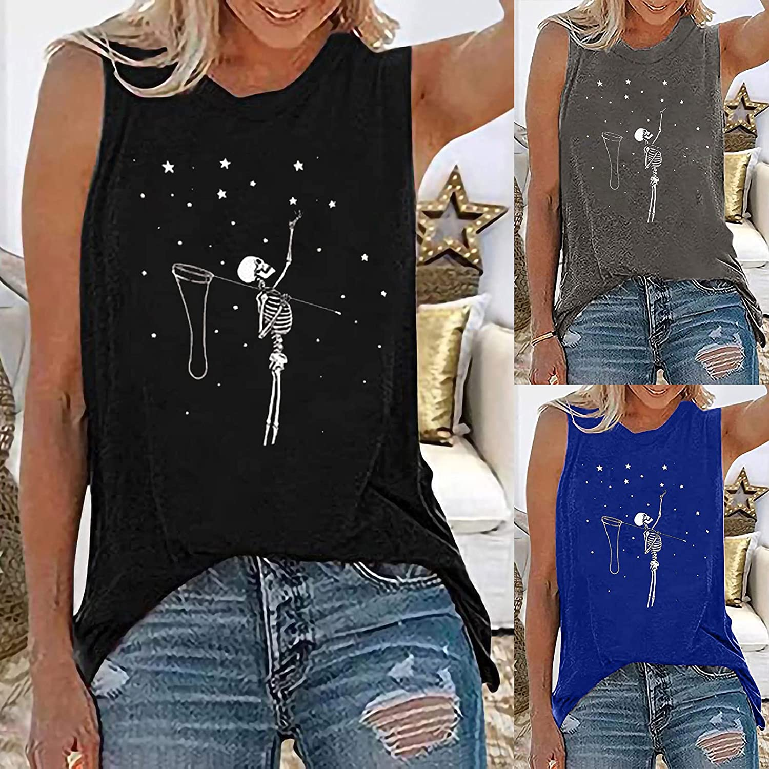 Womens Casual Flowy Tunic Blouse Tops Loose Fit Printing Sleeve Shirt Halter Neck Tank Tops