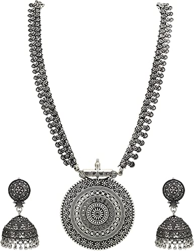 German Oxidized Long Necklace Earring Set for Girls and Women