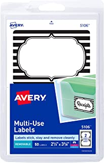 Avery Multiuse Labels, Black & White Border, Removable Adhesive, 2-1/3