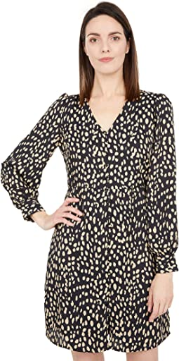 3/4 Sleeve Animal Reset V-Neck Button-Down Dress