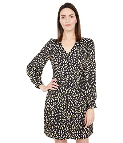 Vince Camuto 3/4 Sleeve Animal Reset V-Neck Button-Down Dress (Rich Black) Women