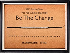 Morse Code Bracelet 925 Sterling Silver Beads on Silk Cord Secret Message Be The Change bracelet Gift Jewelry for her