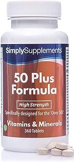 Fórmula 50 Plus multivitamínico con vitamina C - ¡Bote para 1 año! - Apto para vegetarianos - 360 Comprimidos - SimplySupplements