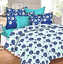 Loreto - A Quality Linen Brand Loreto 152 Tc 100% Cotton Double Bedsheet With 2 Pillow Covers, White And Blue