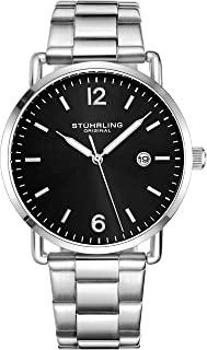 Stuhrling Original Mens Watch Leather or Bracelet Watch Band Silver Dial with Date Minimalist Style 38mm