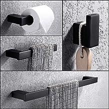 Turs 4 Piezas Juego de accesorios de baño SUS 304 acero inoxidable Sostenedor del papel higiénico Barra de toallas Gancho de bata Anillo de toalla Negro mate, N1009BK