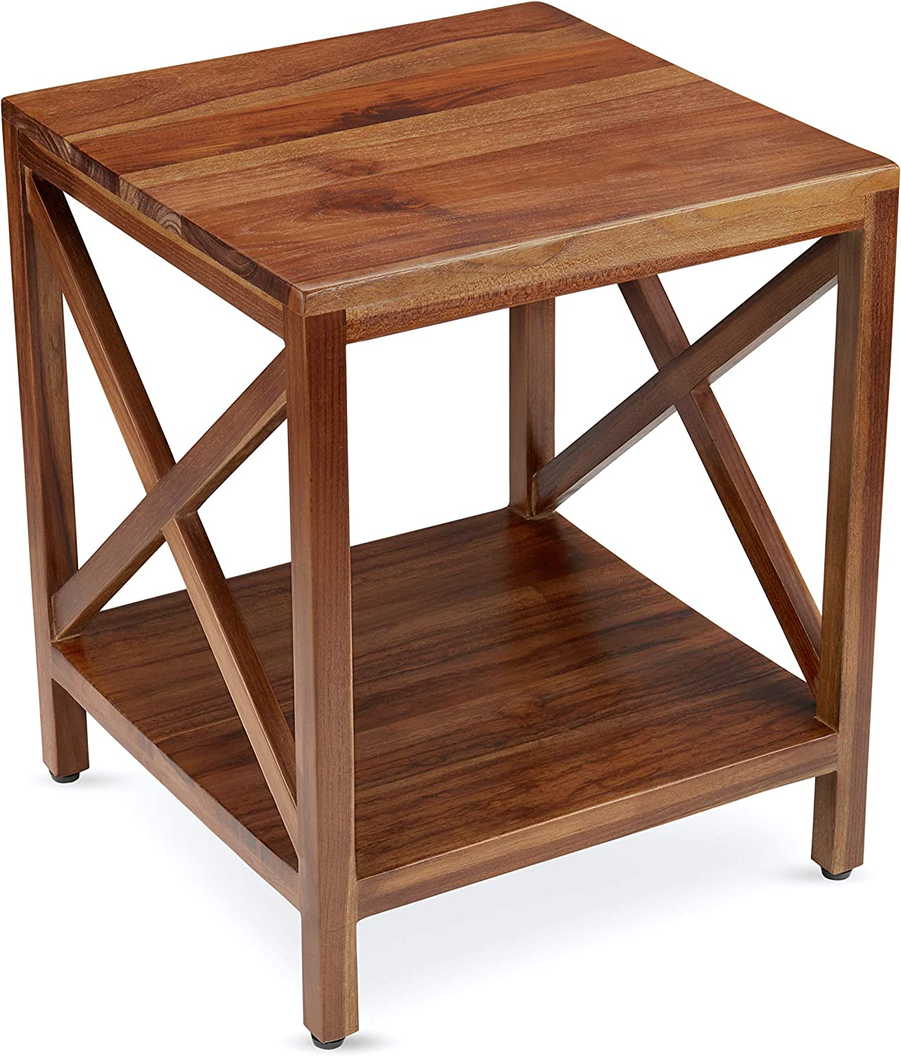 TeakCraft Teak End Table with Shelf Wood Fully favorite Asse Solid store