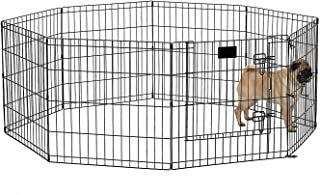 "Midwest Foldable Metal Exercise Pen/Pet Playpen, Black w/Door, 24""W x 24""H"