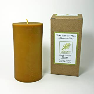 Hand-poured Real Bayberry Wax Traditional Pillar Candle (3 Inch dia. x 6 Inch high)
