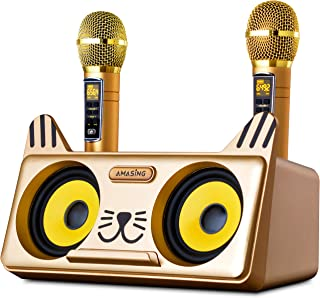 Portable Kitty Cat Karaoke Machine for Kids & Adults: Best Birthday Gift w/Indoor, Outdoor Bluetooth Speakers, 2 Wireless Microphones, Tablet Holder, PA System & Karaoke Song (Gold - Kitty Cat)