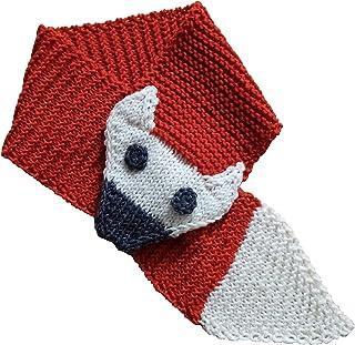 Sciarpa volpe da bambino in lana merino. Taglia unica dai 4 anni. Realizzata interamente a mano