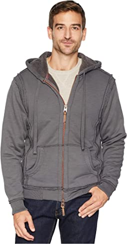 Slub Cashmere Terry Zip Hoodie Jacket with Softest Pile Lining
