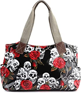 Anladia Cartoon Skull and Roses Oilcloth Shoulder Bag Canvas Strap Women Handbag