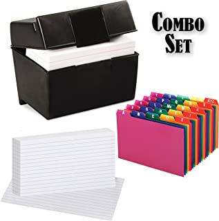 Plastic Index Card Flip Top File Box Holds 300 4x6 Cards, Matte Black, with Poly Card Guides, A-Z, 4x6 -Inch, and Heavy Weight Index Cards, 4