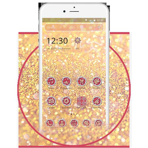 Elegant Gold Glitter 2D Theme