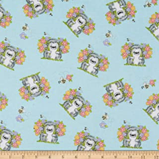 A.E. Nathan Comfy Flannel Print Hedgehog Blue Fabric Fabric by the Yard