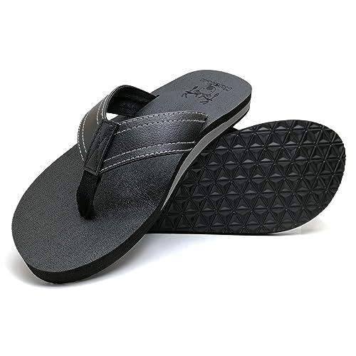 various colors 7d371 2b45c KuaiLu Mens Yoga Mat Leather Flip Flops Thong Sandals with Arch Support