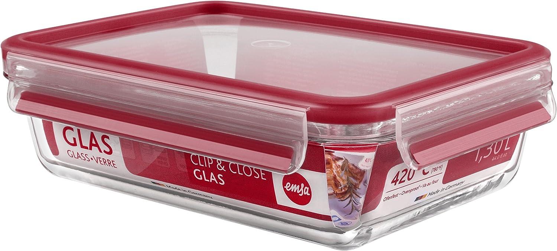 Emsa Clip & Close Conservador Hermético de Cristal de borosilicato Rectangular, higiénico, no retiene olores ni sabores 100% Libre de BPA, Transparente y Rojo, 1.3 L (23.5 x 17.5 x 6.8 cm)