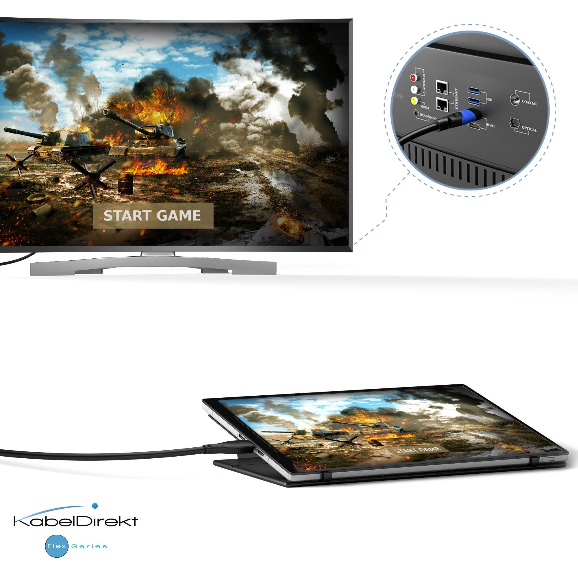 kompatibel mit 4K HDMI Kabel KabelDirekt - Flex Series 0,5m HDMI 2.0a//b 2.0, 1.4a, 4K Ultra HD, 3D, Full HD, 1080p, HDR, ARC, Highspeed mit Ethernet, PS4, Xbox, HDTV