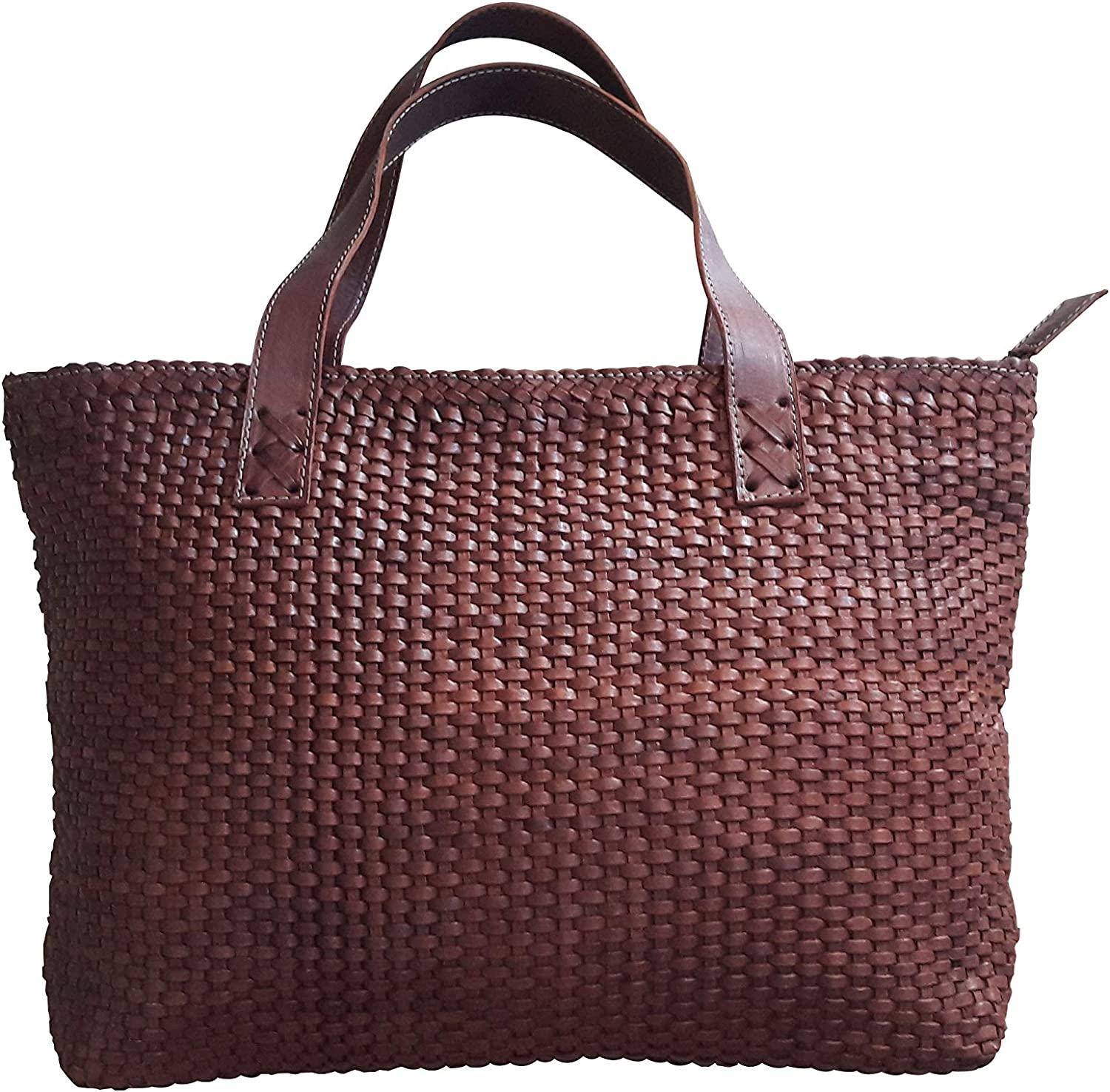 ethnocraft Leather Tote bag Max SALENEW very popular! 40% OFF with Size woven Brown pattern One