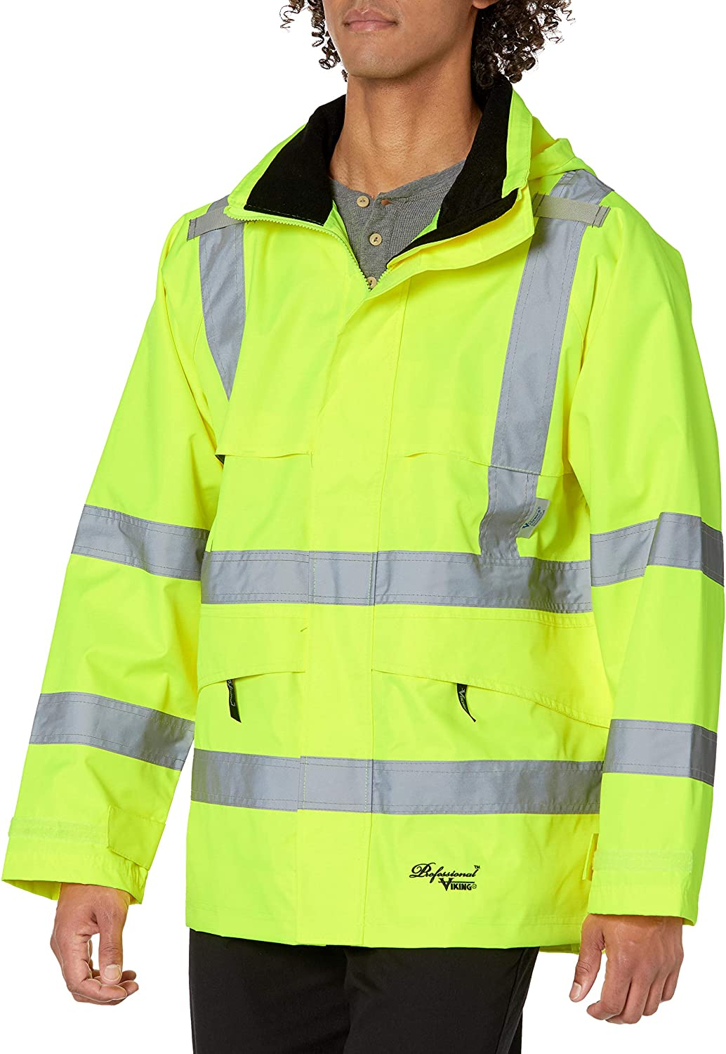 VIKING Professional Journeyman 300 Denier Trilobal Rip-Stop Waterproof and Windproof Hi-Vis Safety Rain Jacket with D Configuration 2