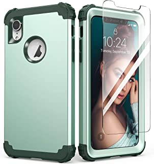 iPhone XR Case with Tempered Glass Screen Protector, IDweel 3 in 1 Shockproof Slim Hybrid Heavy Duty Hard PC Cover Soft Si...