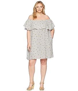 Plus Size Pineapple Print Off the Shoulder Dress