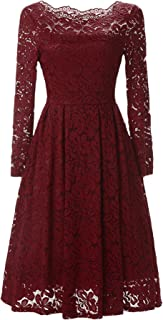chouyatou Women's Retro Boatneck Lace Floral Fit-Flare Pleated Knee Length Cocktail Dress