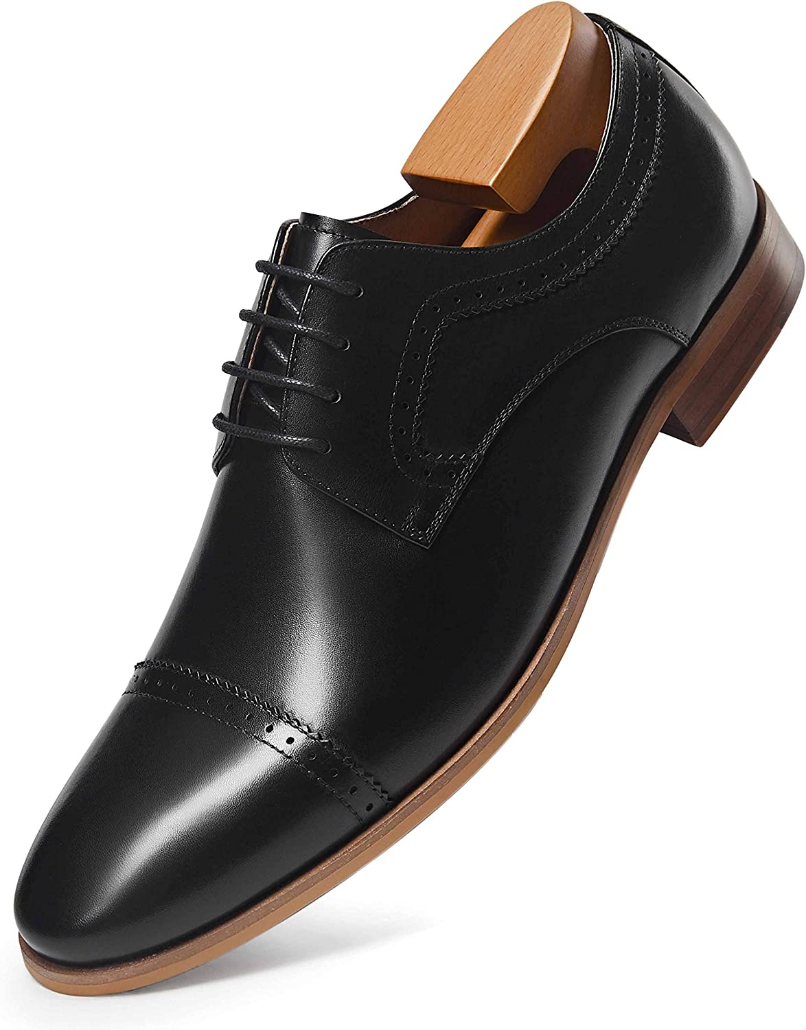 Frasoicus Men's Dress Shoes Leather Classic Lace Up Oxford Formal Shoes for Men