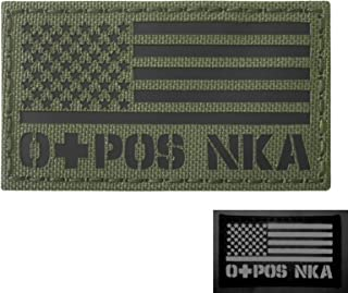 OD Green Olive Drab Infrared USA Flag OPOS O+ Blood Type NKA NKDA IR Tactical Morale Touch Fastener Patch