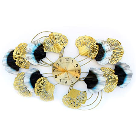 Kumar Industries Metal Stylish Wall Clock for Living Bed Room Home Decor (Gold, 44x25in)