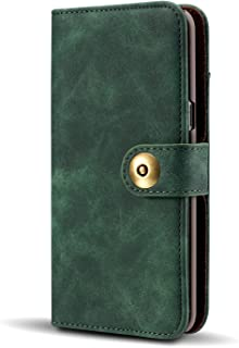 Gloriphy 2 in 1 Premium Suede Leather Wallet and Magnetic Detachable Slim Case Folio Cover with Card Slots for Samsung Galaxy S10 Plus- Teal Blue