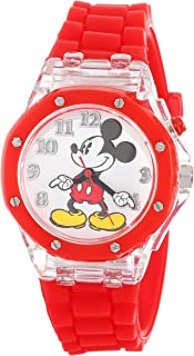 Disney Kids' MK1215 Mickey Mouse Flashing-Dial Watch with Red Rubber Band