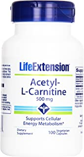 Life Extension Acetyl L-carnitine 500mg Vegetarian Capsules, 100-count (Pack of 12)