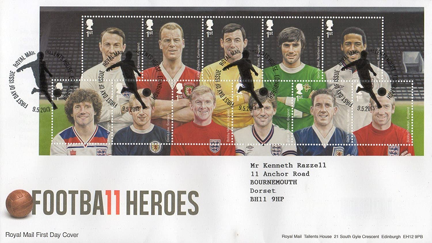 2013 FOOTBALL HEROES TALLENTS HOUSE EDINBURGH FIRST DAY COVER