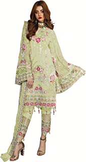 Fabzara Womens Latest Green Color Embroidered Pakistani Suit & Set (MF_55002_Green)_Semi-Stitched