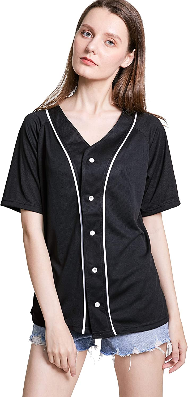 Women Baseball Jersey Max 44% OFF Hip Hop Hipster Max 64% OFF Plain Down Button