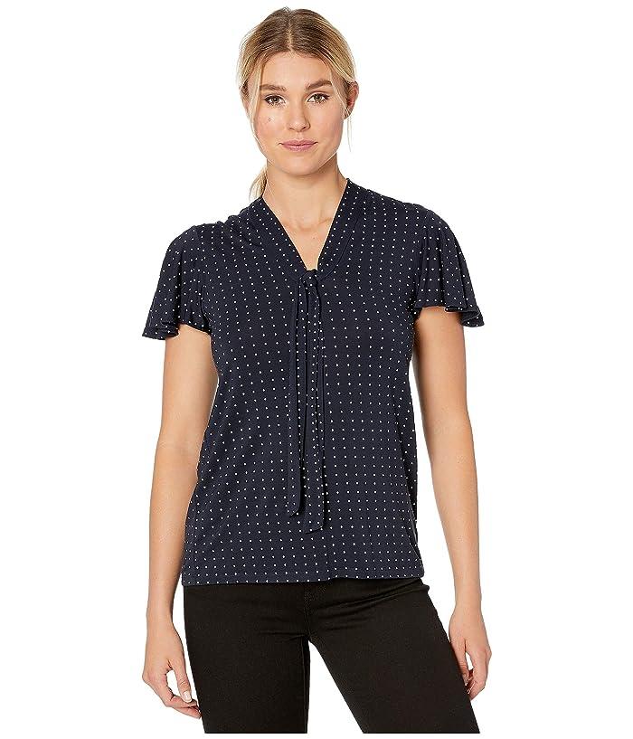 LAUREN Ralph Lauren  Stretch Jersey Tie Neck Top (Lauren Navy/Silk White) Womens Clothing