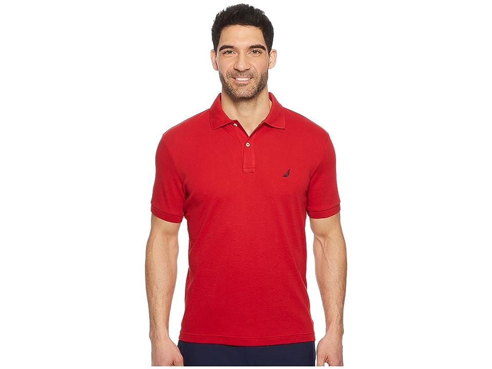 Nautica Short Sleeve Solid Interlock Polo (Nautica Red) Men
