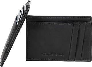 Ben Sherman Men's Manchester Bifold Full-Grain Leather RFID Minimalist Gift Box, Black Marble Card Case, Slim Wallet