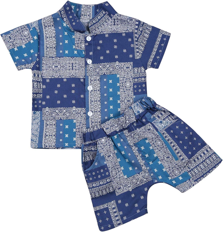 Toddler Baby Boys Summer Clothes Set Floral Beachwear Short Sleeve Shirt + Shorts 2PCS Outfits Set