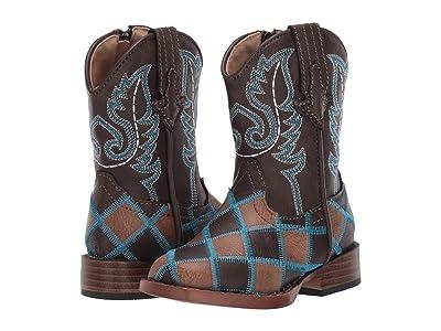 Roper Kids Bird Blocks (Toddler) (Patchwork Brown Vamp/Turquoise Shaft) Cowboy Boots