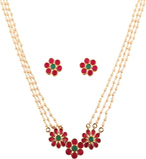 Touchstone New Indian Bollywood Desire Inspired by Indian Studded Technique Floral Motif Intertwined Beads Designer Jewelr...