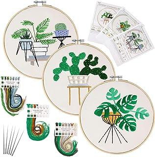 Kit de démarrage de broderie, 3 kits de point de croix avec motif végétal comprenant des cerceaux, des fils colorés et un ...