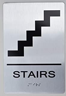 STAIRS ADA SIGN -(Aluminium, Brush Silver,size 6x9) The sensation line