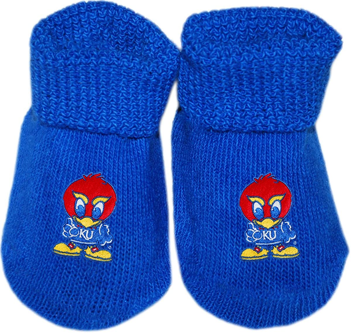 University of Kansas Youth Jay Hawk Newborn Baby Bootie Sock