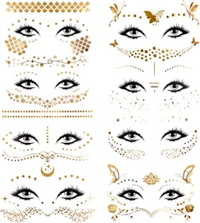 Konsait 8 Sheets Face Tattoo Sticker Metallic Temporary Transfer Tattoo Waterproof Face Jewels for Women Girls Make Up Dancer Costume Parties, Shimmer Glitter Gold Tattoos,Butterfly Star Freckle Scale