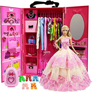 ZITA ELEMENT Doll Closet Wardrobe for 11.5 Inch Girl Doll Clothes and Accessories Storage - Lot 51 Items Including Wardrobe, Trunk, Casual Wear, Dress, Swimsuits, Hangers, Shoes, Bags and Necklaces - coolthings.us