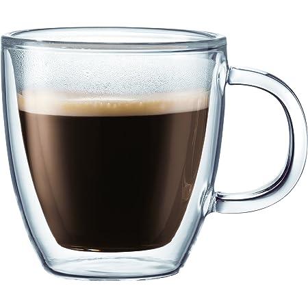 Bodum Bistro Double-Wall Insulated tazas espresso (Cristal, 5-Ounce, Conjunto de 2, Empaque original, Transparente, 1